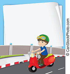 Boy on motorbike - Illustration of a banner with a boy on...
