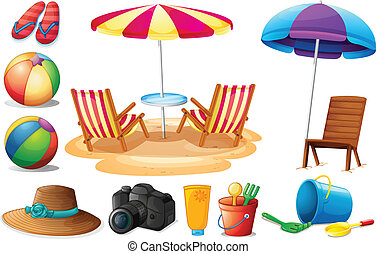 Things found at the beach during summer - Illustration of...