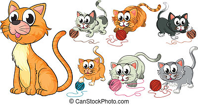Cats and kittens - Illustration of cats and kittens