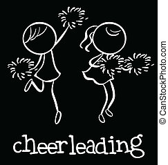Cheerleading - Illustration of girl cheerleaders dancing
