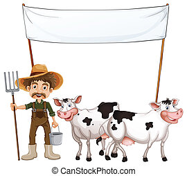 Farmer and cows - Illustration of a farmer and cows