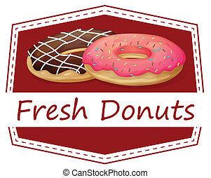 A food with a fresh donuts label - Illustration of a food...