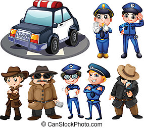 Police and detectives - Illustration of police and...