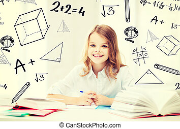 student girl studying at school - education and school...