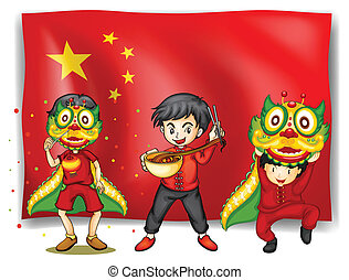 chinese new year - Illustration of a flag of china and...