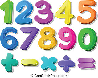 Number - Illustration of multicolored number