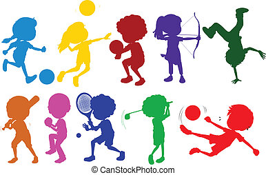 Coloured sketches of kids playing with the different sports...