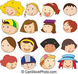 Different faces - Illustration of the different faces on a...