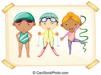 A frame with three sporty kids - Illustration of a frame...