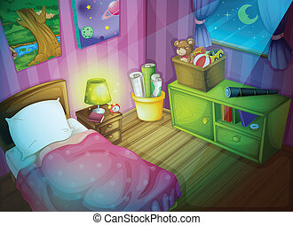 Bedroom - Illustration of a bedroom at night