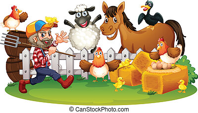 Farm animals - Illustration of the farm animals on a white...