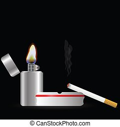 lighter and cigarette - colorful illustration with lighter...