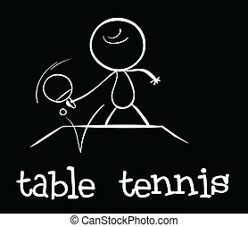 Table tennis - Illustration of a stickman playing table...