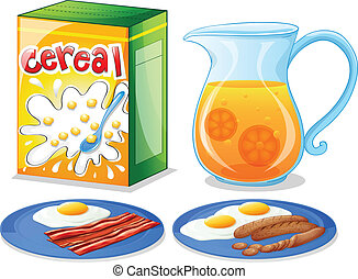 Breakfast foods - Illustration of the breakfast foods on a...