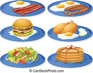 Breakfast - Illustration of different dishes of breakfast