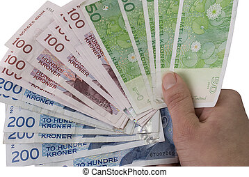 Fan of 50, 100, 200 NOK Norwegian crones paper bank notes -...