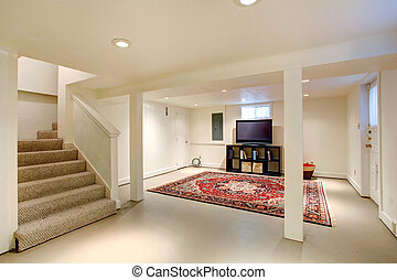 House interior. Basement room with TV - House interior....