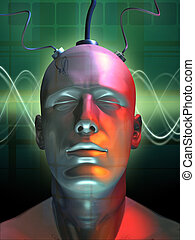 Digital dreaming - Wired android head Digital illustration