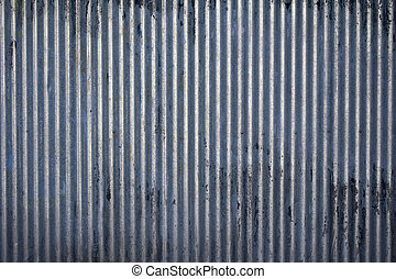 Corrugated steel texture - Weathered galvanized and...