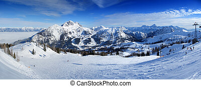 Ski resort panorama - Panoramic view from the top of...