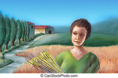 Wheat field - Peasant girl holding some wheat. On the...