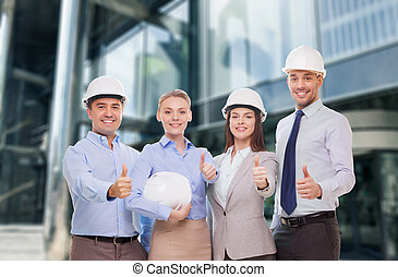 happy business team in office showing thumbs up - business,...