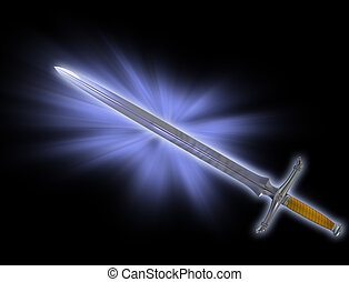 Magic battle sword - Illustration of a magical fantasy...