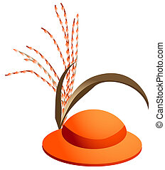 red hat with reed isolate on a white background