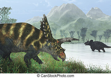 Dinosaur Shore - Two dinosaurs, a Coahuilaceratops and a...