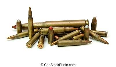 Pile of cartridges isolated - Pile of cartridges of various...