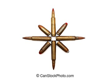 Eight-pointed star of cartridges isolated - Eight-pointed...