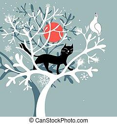 vektor snow cat tree