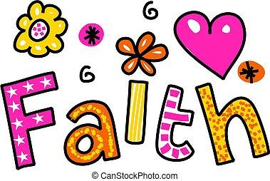 Faith Clip Art - Hand drawn and coloured whimsical cartoon...