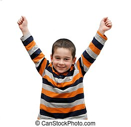 Cute little boy rises his arms in a V-sign