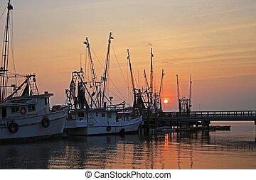 Shrimp Boats - Shrimp boats at sunset, Beaufort, SC