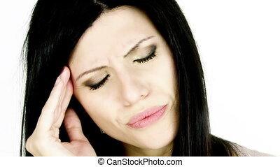 Woman with strong headache - Woman shouting for pain of...