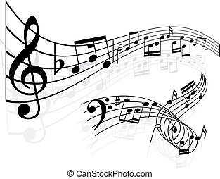 música, notas, fundo