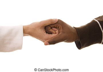 Union - Black and white hands shaking in friendly agreement...