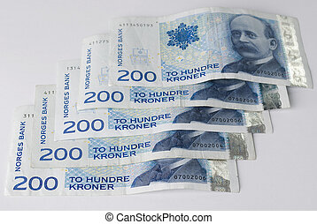 Norwegian two hundreds crones paper banknotes - Norwegian...
