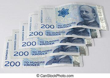 Norwegian two hundreds crones paper banknotes - Norwegian...
