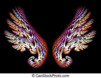 Two Angel Wings in purple and gold tones over black...