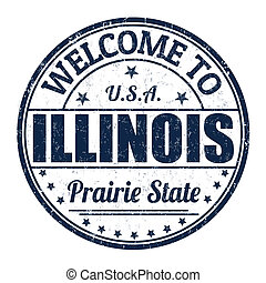 Welcome to Illinois stamp - Welcome to Illinois grunge...