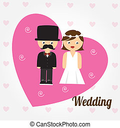 Wedding design over white background, vector illustration