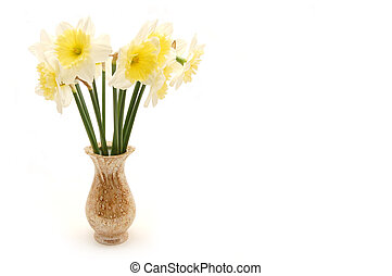bouquet of spring flowers in vase, isolated on white background