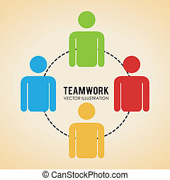 Teamwork design over beige background, vector illustration