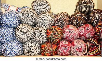variegated yarn skeins on display