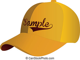 Blank Yellow Baseball Cap on white