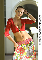 woman in red shirt - beautiful young woman in red shirt at...