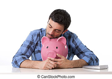 sad worried man in stress with piggy bank in bad financial...