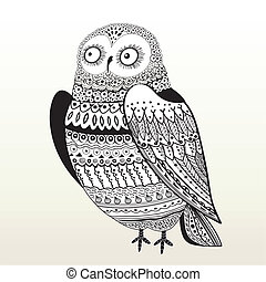 Seamless graphic pattern owl